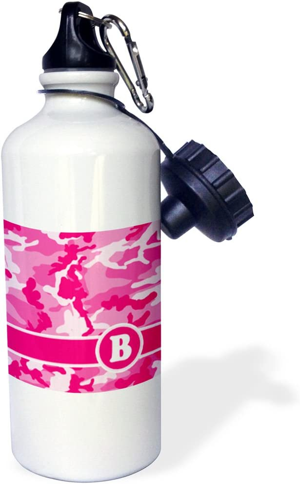 3dRose Cute Pink Camo Camouflage Letter B-Sports Water Bottle, 21oz (wb_165824_1), Multicolored