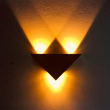 Aoile Modern Led Triangle Aluminum Wall Lamp Bedroom Corridor Staircase Indoor Spot Lights Decoration Yellow Light 85 265v 3w Amazon In Home Kitchen
