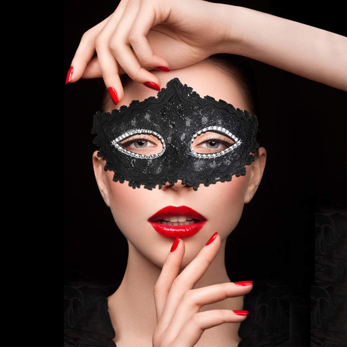 Garneck Squisita Strass in Cristallo di Pizzo Stile Veneziano Cosplay Mascherina di Modo Nero per Il Travestimento di Halloween Festa in Costume