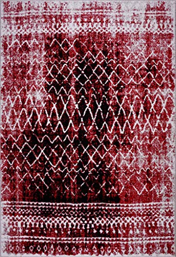 Ladole Rugs Everest Collection Verona Traditional Trellis Pattern European Beautiful Indoor Mat in Red and Black, 2x3(1'7