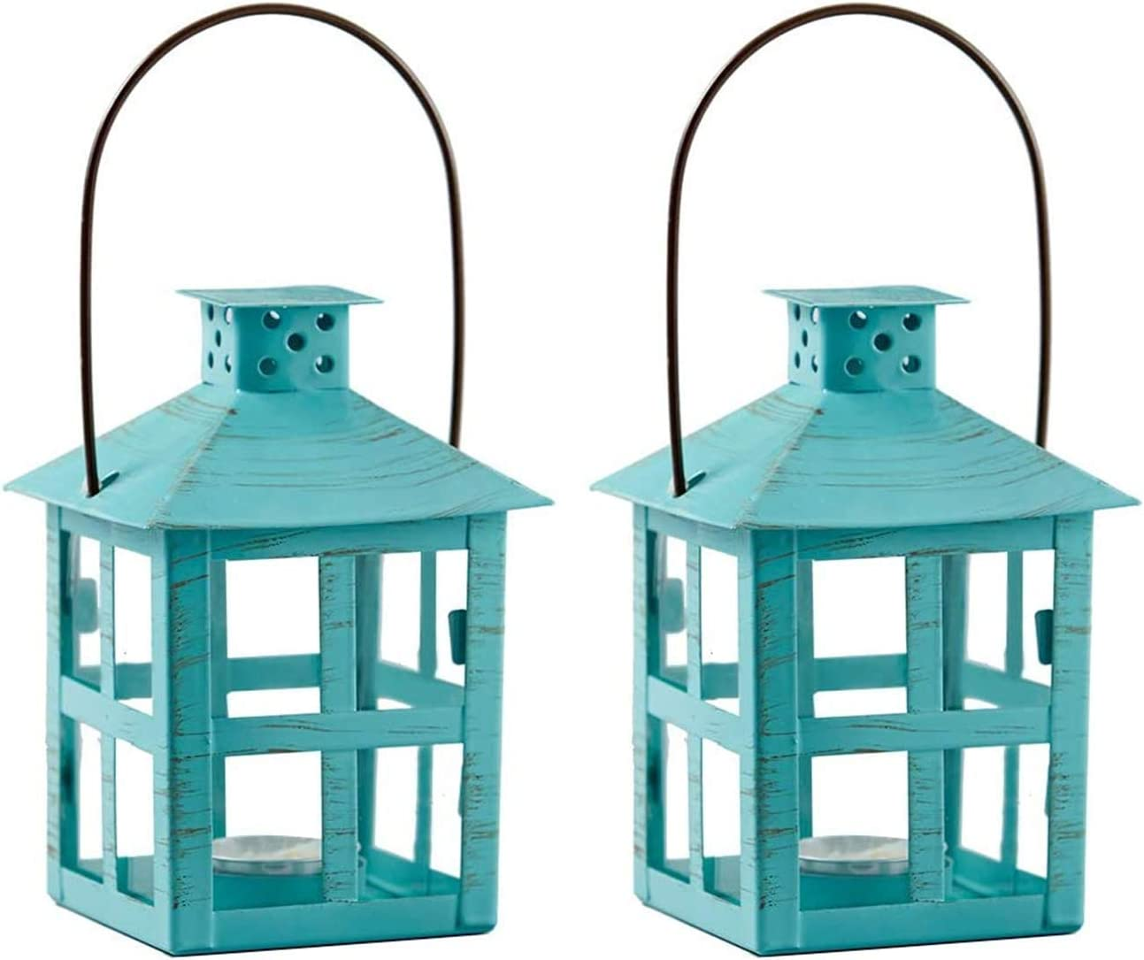 Kate Aspen Decorative Lanterns - Set of 2 - Vintage Metal Lantern Candle Holders for Wedding, Home Decor and Party - 7.5