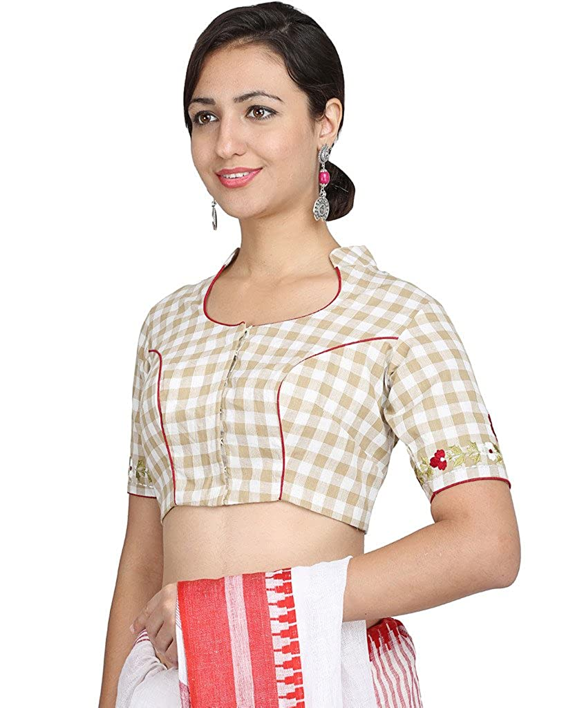 779723d805a822 Sara Cotton Beige Check Pattern Collar Neck Non-padded Blouse  Amazon.in   Clothing   Accessories