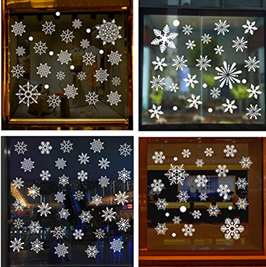 Reusable Xmas Christmas Snowflake Window Stickers Decorations Cling Decal Decor