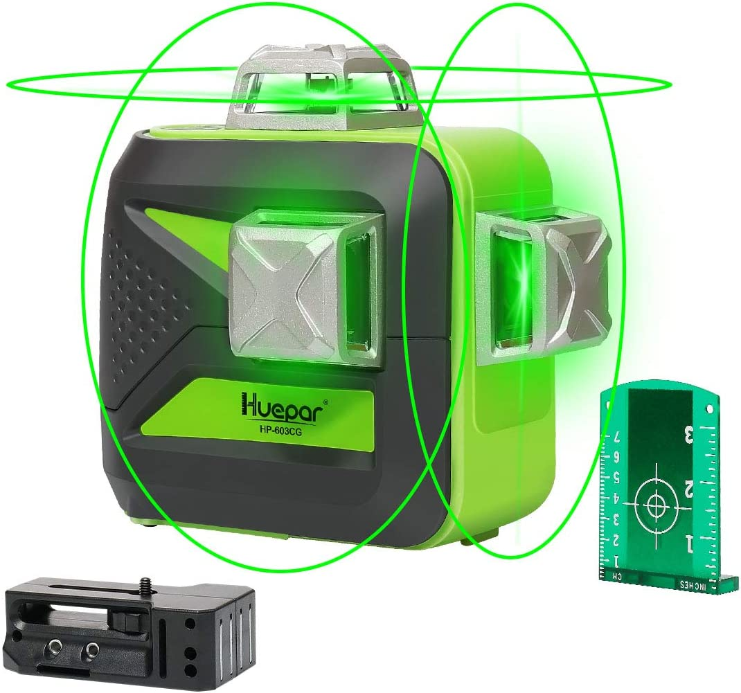Huepar 3D Green Beam Self-Leveling Laser Level 3×360 Cross Line Laser Three-Plane Leveling and Alignment Line Laser Level -Two 360 Vertical and One 360 Horizontal Line -Magnetic Pivoting Base 603CG