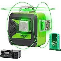 Huepar 603CG 3 x 360 Niveau Laser Croix Vert, Ligne Laser Auto-nivellement avec Mode Pulsé Extérieur, Distance de Travail 25m, (Pile au lithium universelle, Pile AA et Support magnétique Incluse)