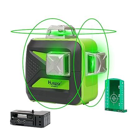 Huepar 3D Green Beam Self-Leveling Laser Level 3x360 Cross Line Laser Three-Plane