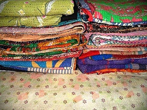 Wholesale Lot of 5 Vintage Handmade Kantha Quilts,Reversible ()