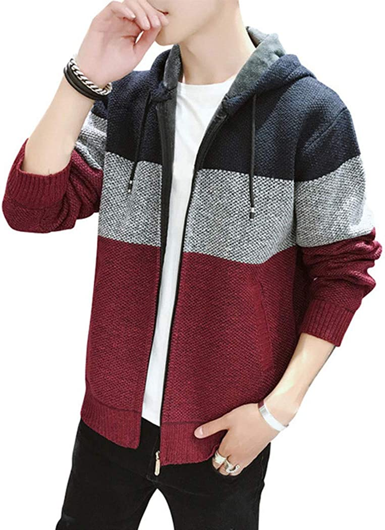 Mens Winter Casual Sweater Coat Thick Knitted Cardigan Long Sleeve Warm Jacket with Pockets