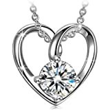 "ANGEL NINA Love Heart Allergen-free 925 Sterling Silver Sparkling 5A Cubic Zirconia Pendant Necklace for Women, Christmas Gifts Elegant Jewellery Gift Box, Nickel Free Passed SGS Test 18""+2"" Extender"