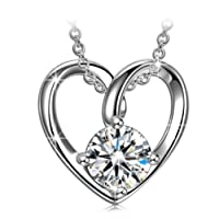 """ANGEL NINA Love Heart Allergen-free 925 Sterling Silver Sparkling 5A Cubic Zirconia Pendant Necklace for Women, Christmas Gifts Elegant Jewellery Gift Box, Nickel Free Passed SGS Test 18""""+2"""" Extender"""