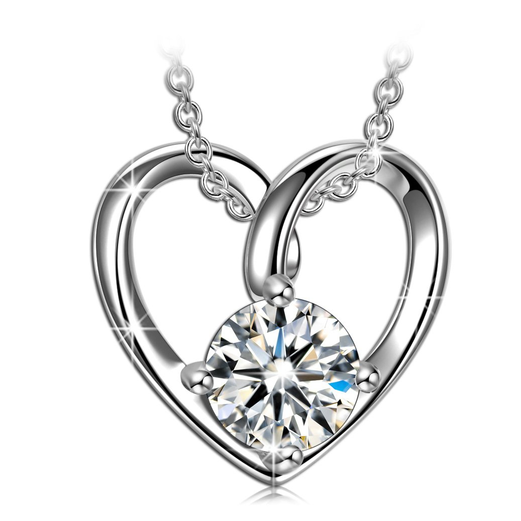 925 Sterling silver heart necklaces for girlfriend women wife wedding anniversary valentines gifts for her wife lover 5A Cubic Zirconia necklace for teen girls birthday presents for mom grandma her by ANGEL NINA