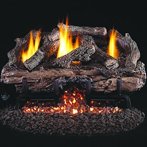 Standing Pilot Natural - Peterson Real Fyre 24-inch Charred Aged Split Oak Log Set With Vent-free Natural Gas Ansi Certified G10 Burner - Electronic Non-standing Pilot And Variable Flame Remote