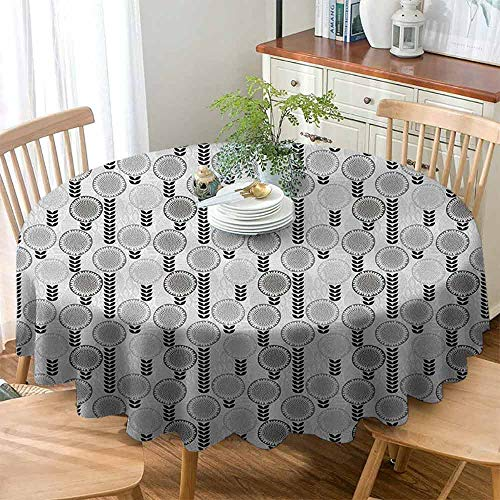 (Dust-Proof Round Tablecloth Floral Feel Comfortable Abstract Creative Doodle Style Blossoms and Striped Leaf Figures,D47(120cm) Pale Grey Black and White)