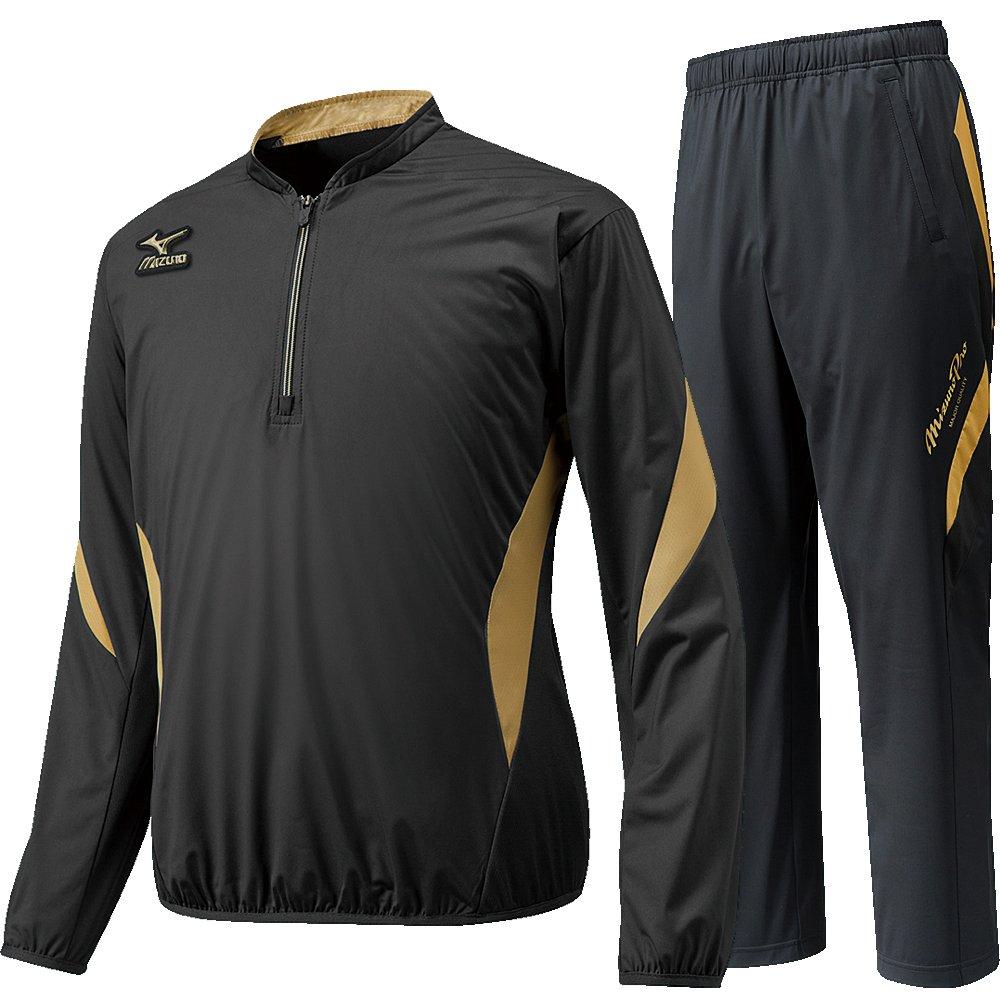 MIZUNO PRO ミズノプロ トレーニングジャケット(長袖)&ロングパンツ 12JE6J8209-12JF6J8209/O-サイズ上下 ブラック×ゴールド B01N7YVYPD