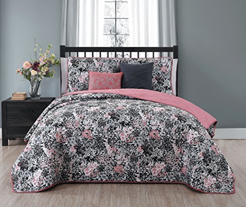 Avondale Manor Samina 5-Piece Quilt Set, Queen, Pink