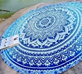 "Popular Round Roundie Yoga Mat Indian Mandala Round Roundie Beach Throw Tapestry Hippy Boho Gypsy Cotton Table Cover Beach Towel , Beach Towel Throw , Round Yoga Mat 70"" By Popular Handicrafts"