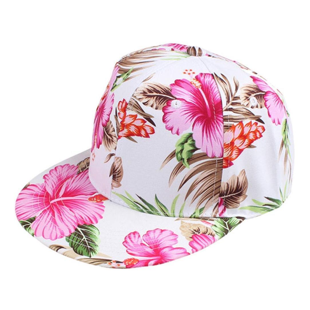 f88890ad934 Amazon.com  CieKen Floral Printed Snapback Hat Unisex Trucker Hat Hip Hop  Plaid Flat Bill Brim Adjustable Baseball Cap (Hot Pink)  Clothing