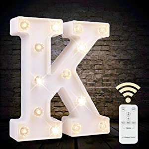 White Light Up Marquee LED Letter Sign with Remote Timer Dimmable for Party Wedding Decor, Alphabet Wall Decoration Letter Lights, Letter K
