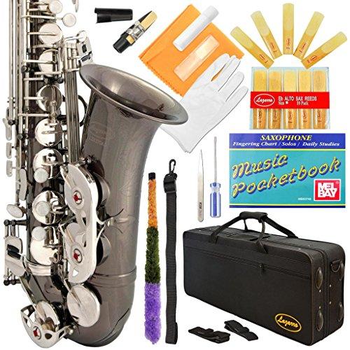 کلیدهای نیکل-نقره ای سیاه و سفید با کیف ، 11 عدد قلم ، کیت مراقبت و موارد اضافی Lazarro 370-BN E-Flat Eb Alto Saxophone