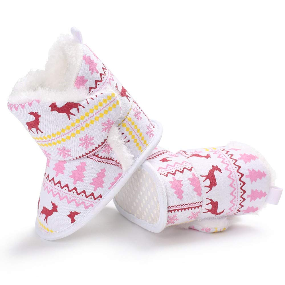 ZZBO Baby Christmas Shoes Winter Warm Slippers Boots Socks Infant Newborn Toddler Booties Snow Boots Cribs Prewalker Anti-Slip Shoes for Baby Boys Girls 0-18 Month Old