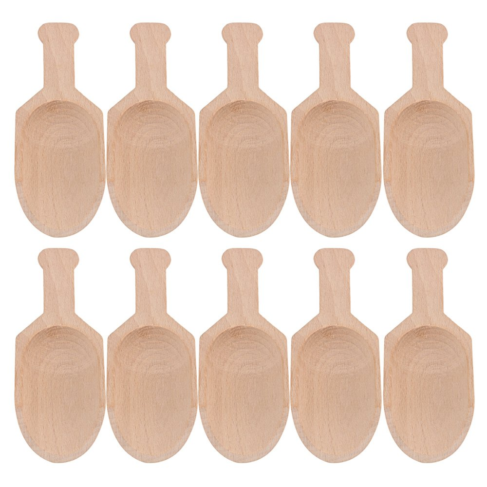 BQLZR 3 inch Mini Beech Wooden Scoops Spoon Candy Spices Parties Home Kitchen Tool Pack of 10 M4180301028