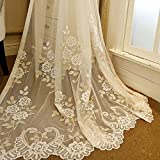 AiFish Romantic Embroidered Sheer Curtains Floral Tulle Gauze Curtains Rod Pocket Country Style Luxury Lace Voile Window Drape Panel Net Mesh Curtains for Living Room Beige 1 Piece W39 x L63 inch