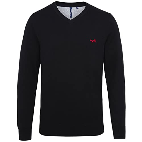 Asquith & Fox Men's Cotton Blend V-Neck Jumper with Official Fox Logo