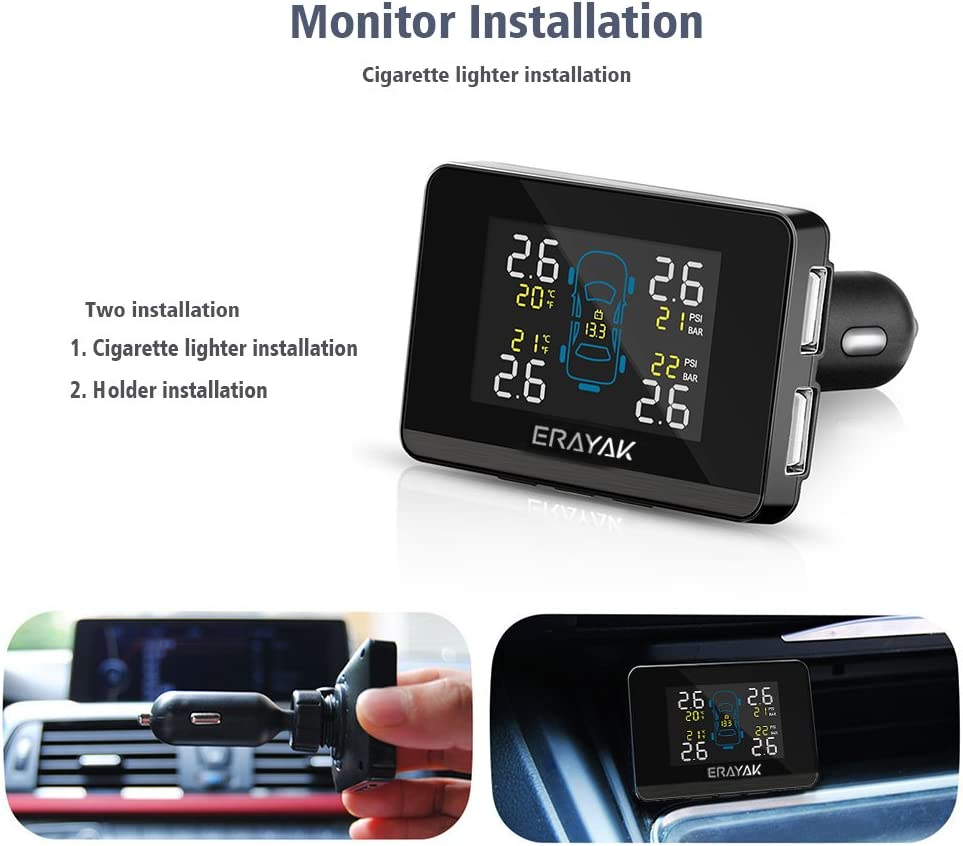 Akozon TPMS Tire Pressure System Wireless IP67 Waterproof LCD Car RV Truck Trailer Real Time Monitoring System Solar Power USB Dual Charge with 4 External Sensors