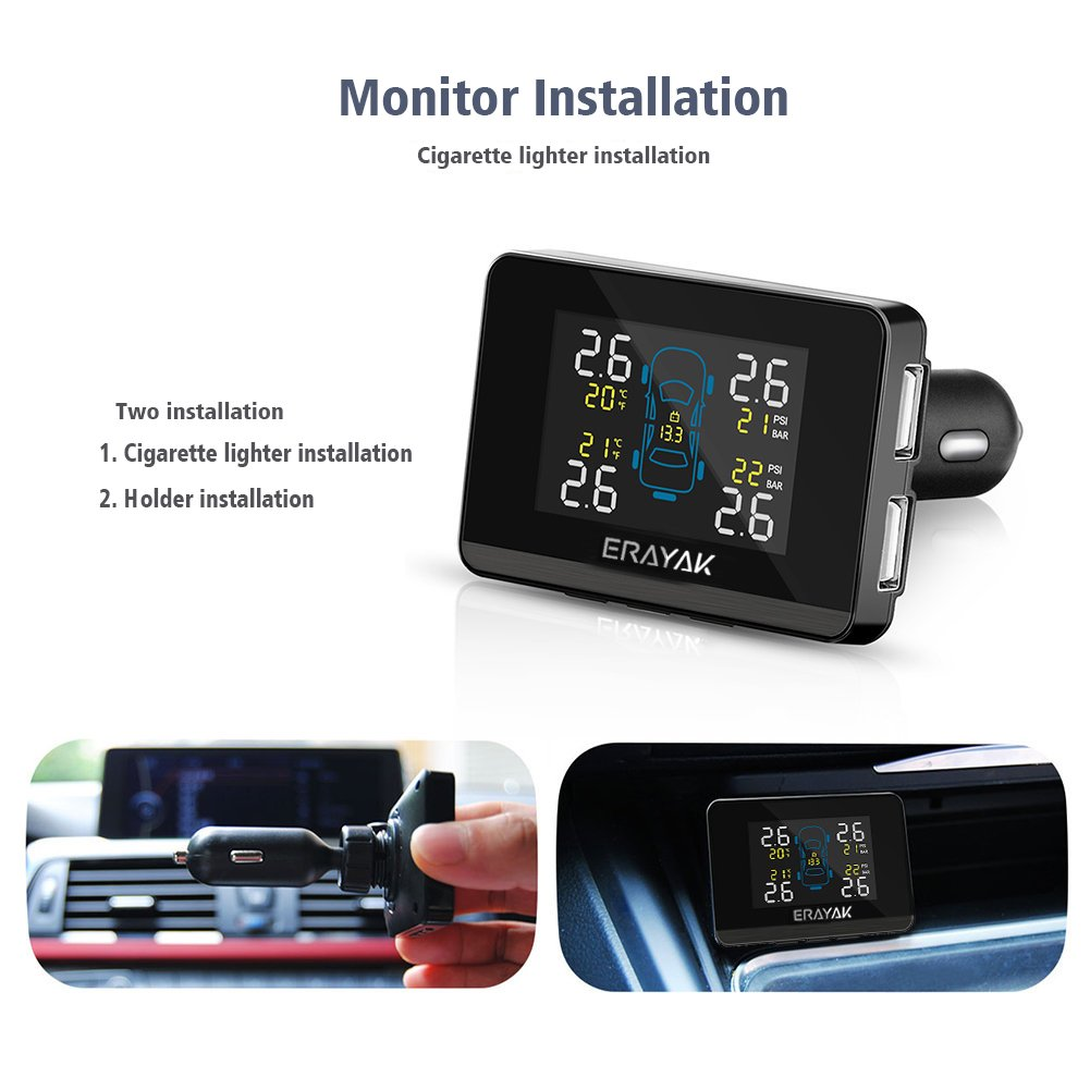 ERAYAK Tire Pressure Monitoring System Wireless TPMS with 4 Waterproof External Sensors and Dual 5V USB Ports, Built-in Visual and Audio Alarm System by ERAYAK (Image #2)