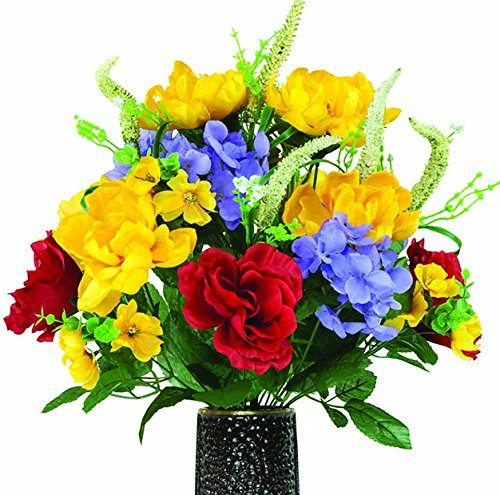 Red Rose Yellow Peony and Lavander Hydrangea Artificial Bouquet, featuring the Stay-In-The-Vase Design(c) Flower Holder (SM1667) (Hydrangea Silk Flowers In Vase)