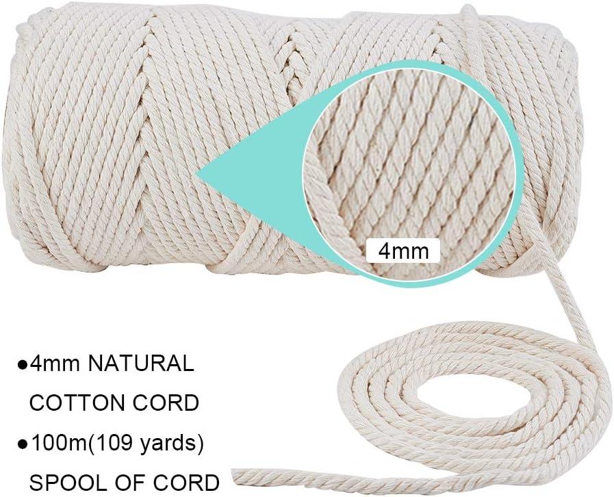 capteur de r/êves Bricolage Artisanat cha/îne /à Tricoter BENECREAT Corde en Coton 3 brins 2mmx200m 100/% Corde de Coton macram/é Fait Main /à la Main Naturelle pour Cintre tentures Cintre Plante