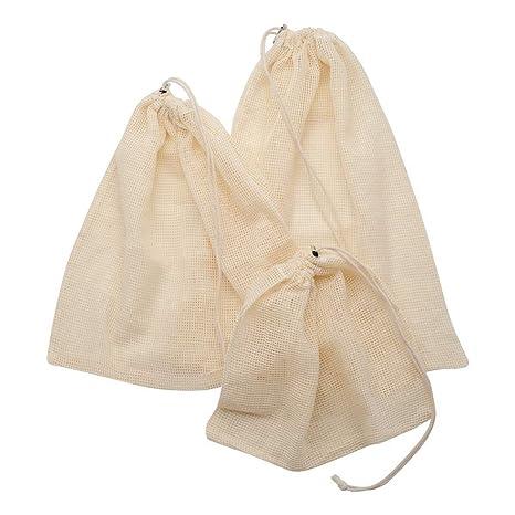 SODIAL 10Paquete Bolsa de Malla de Algodón Reutilizable para ...
