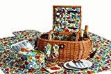 Hand Woven Waterloo 2 Person Deluxe Insulated Willow Picnic Basket with Accessories by Picnic Plus