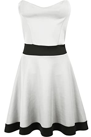c7a9e1ee1f Oops Outlet Women s Padded Bandeau Boobtube Jersey Contrast Panel Skater  Dress S M (US