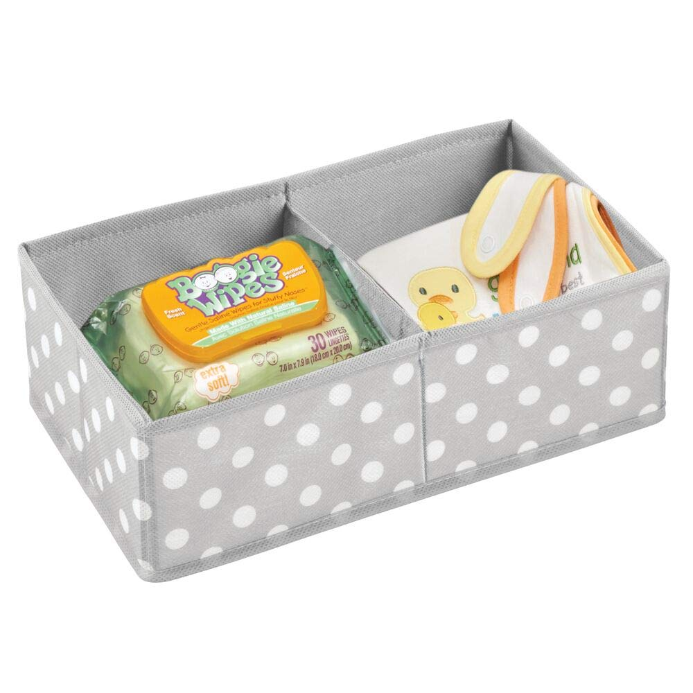 grau und wei/ß mDesign 2er-Set Aufbewahrungsboxen f/ür Kleidung Kinderschrank Organizer mit 2 F/ächern Kinderzimmer Aufbewahrungsbox aus Stoff Babysachen usw