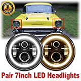 Pair 7 Inch Round LED Headlights with Amber Halo Ring for Chevy Truck (1947-1957 and 1962-1972), Super Bright 6000K White DRL and Yellow Turn Signal Lamps High Low Sealed Beam H6024 6024 H5024 H6017