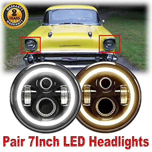Pair 7 Inch Round LED Headlights with Amber Halo Ring for Chevy Truck (1947-1957 and 1962-1972), Super Bright 6000K White DRL and Yellow Turn Signal Lamps High Low Sealed Beam - Sealed Beam Lights Driving