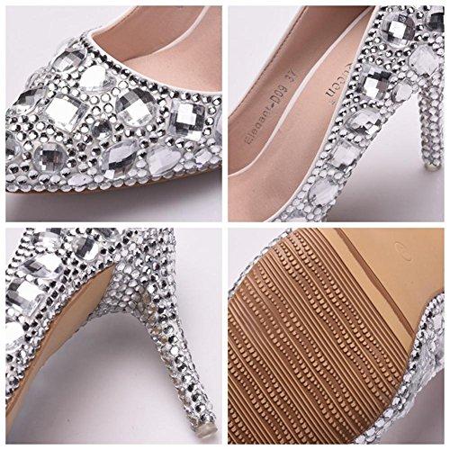 Rhinestones Alto Nupcial Boda Corte Señoras Zapatos Cristal Mujer qOYwfAxW