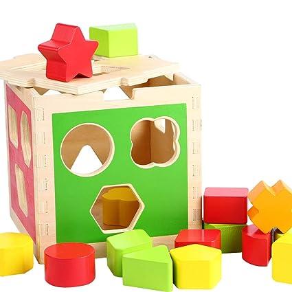 Holzspielzeug Steckbox Holz viele Formen Steckspiel Kleinkind