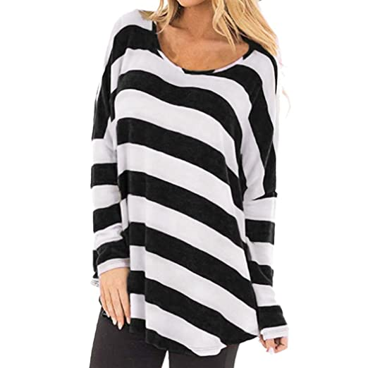 NREALY Womens Blouse Long Sleeve Striped Crop Top Tee T Shirts Hoodie Tunic(S,