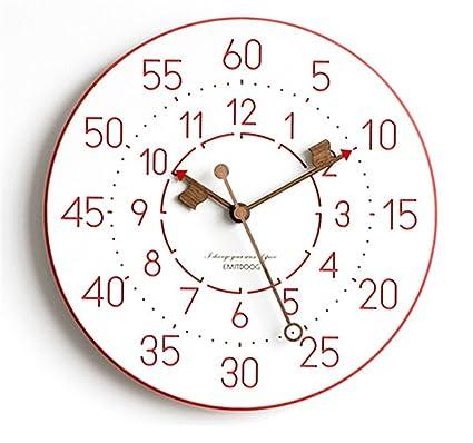 JIJUHONG Nórdico Creativa Simple Moderno Rojo Digital Reloj Mute Decoración Regalos Estudio Dormitorio Salón Librería Cuarto