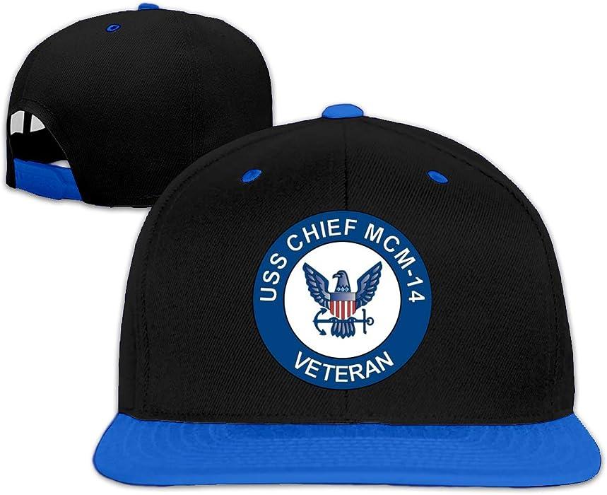 173bb2f3a346f USS Chief MCM-14 Veteran Men Women Hip Hop Hat Trucker Flat Hats Adjustable  Snapback