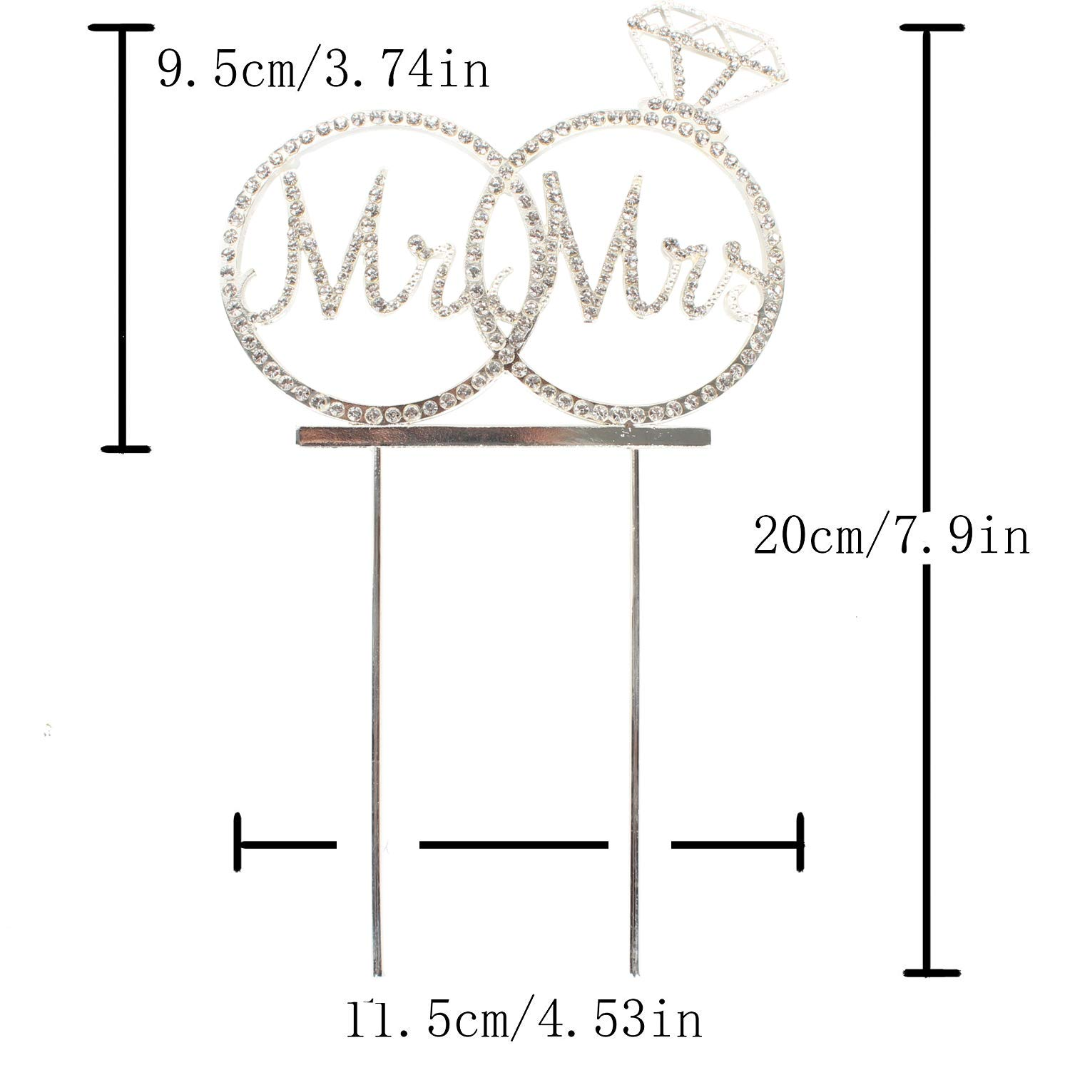 Hatcher lee Mr /& Mrs Cake Topper for Wedding Anniversary Rings Crystal Rhinestone Party Decoration Silver