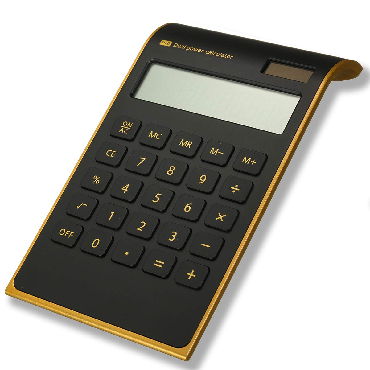 Caveen Calculator Ultra Thin Solar Power Calculator for Home Office Desktop Calculator Tilted LCD Display Business Calculator (Basic, Black)