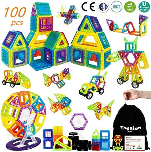 Theefun® Bloques de Construcción Magnéticos Set Arco Iris con 100 Piezas Inspira Set Estándar de Construcción - Juguetes Creativos y Educativos – Bolsa de Almacenamiento: Amazon.es: Juguetes y juegos