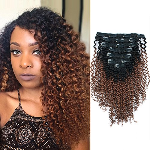 Search : AmazingBeauty 3C 4A Kinkys Curly Ombre Hair Extensions Double Weft Real Remy Human Hair for African American, Two Tone Clip In Hair Extensions, Natural Black Fading into Light Auburn TN30, 14 Inch