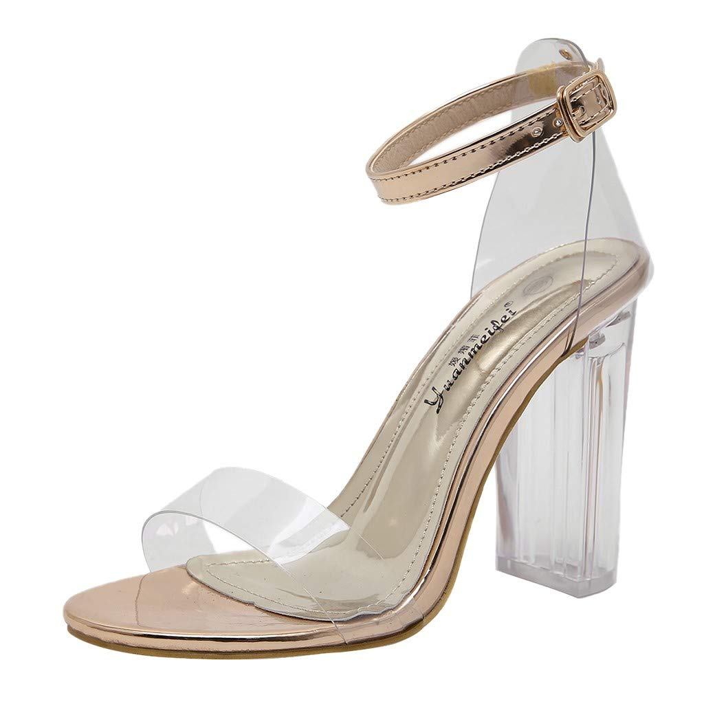 Nadition Summer Sandals ❤️️ Women's Casual Crystal Transparent Buckle Fashion High Chunky Block Heel Pump Dress Sandals Rose Gold