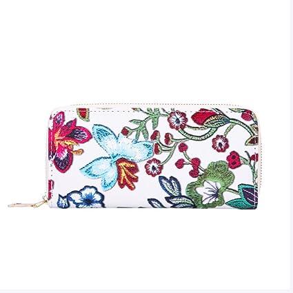 AIMEE7 carteras de mujer grandes Cremallera de las mujeres Cartera de cuero de la impresión floral