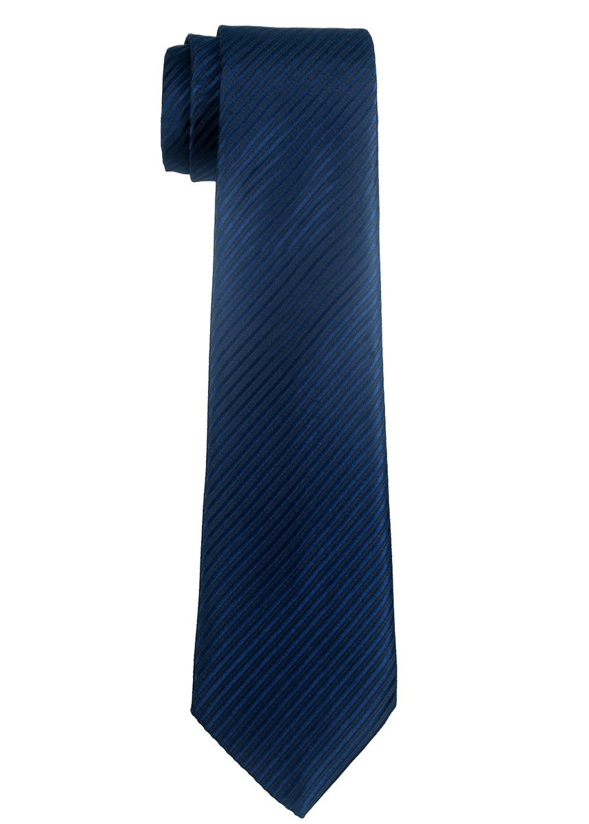 Retreez Woven Boy's Tie with Stripe Textured (8-10 years) - Navy Blue