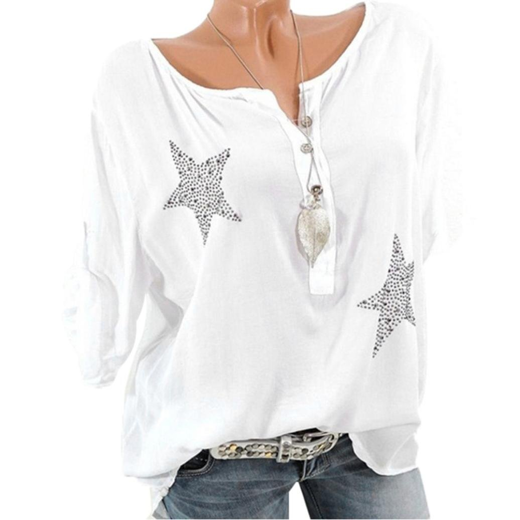 Easytoy Women Tops, Womens Casual Button V Neck Star Drill Plus Size Shirt Blouse (White, XXXL)